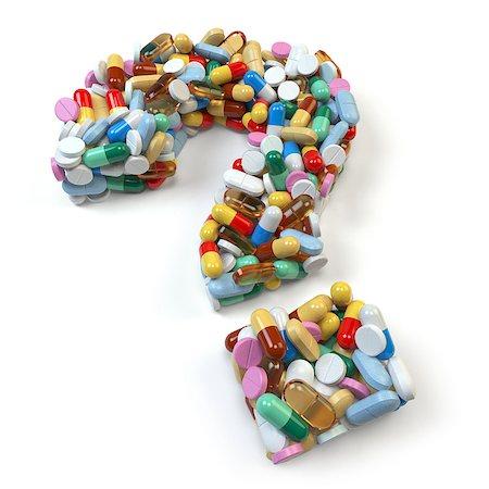 Знак вопроса, сложенный из таблеток