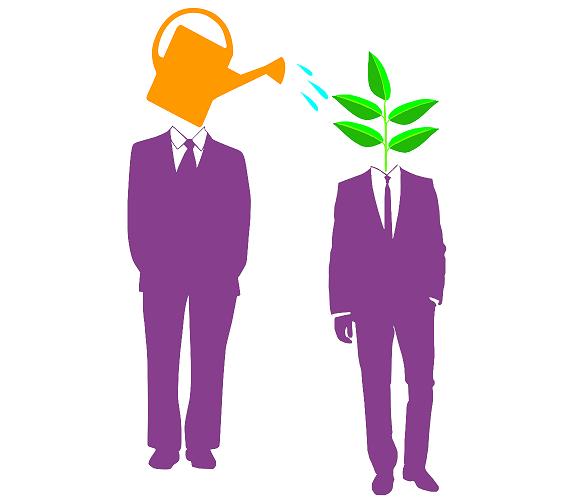 Два человека в костюмах, символическое изображение консультативной помощи в виде лейки и растения
