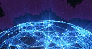 Планета и светящиеся точки, соединённые в сеть